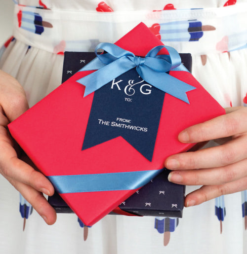 Letterpress Gift Tags - Navy with White Foil