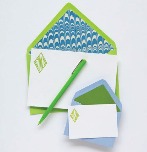 Beautiful letterpress stationery set that includes notecards and enclosure notes.