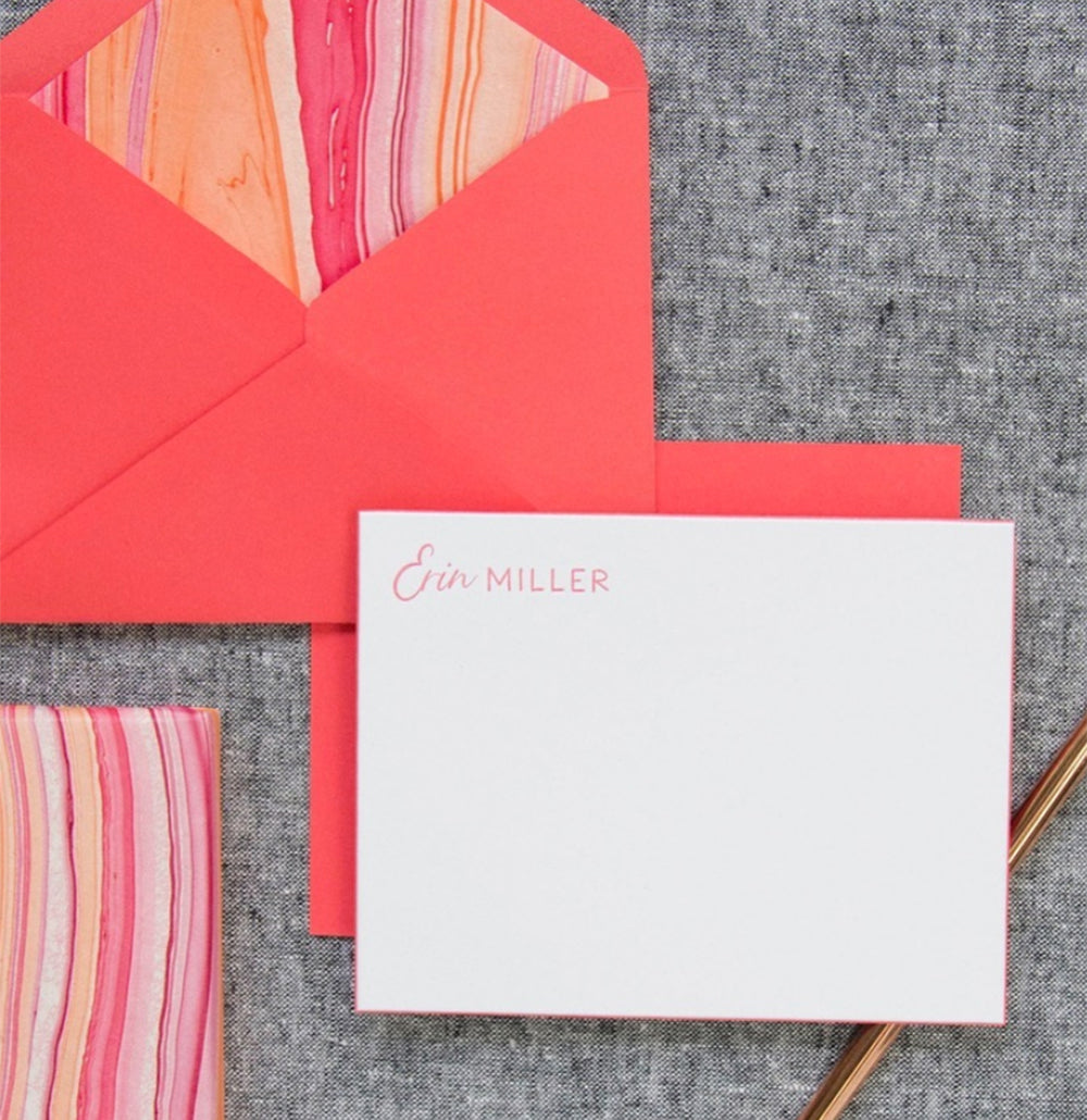 Coral Letterpress Notes with Lined Coral Envelopes