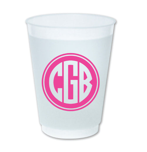 Picture of our 3-letter monogram cups. Great for parties.