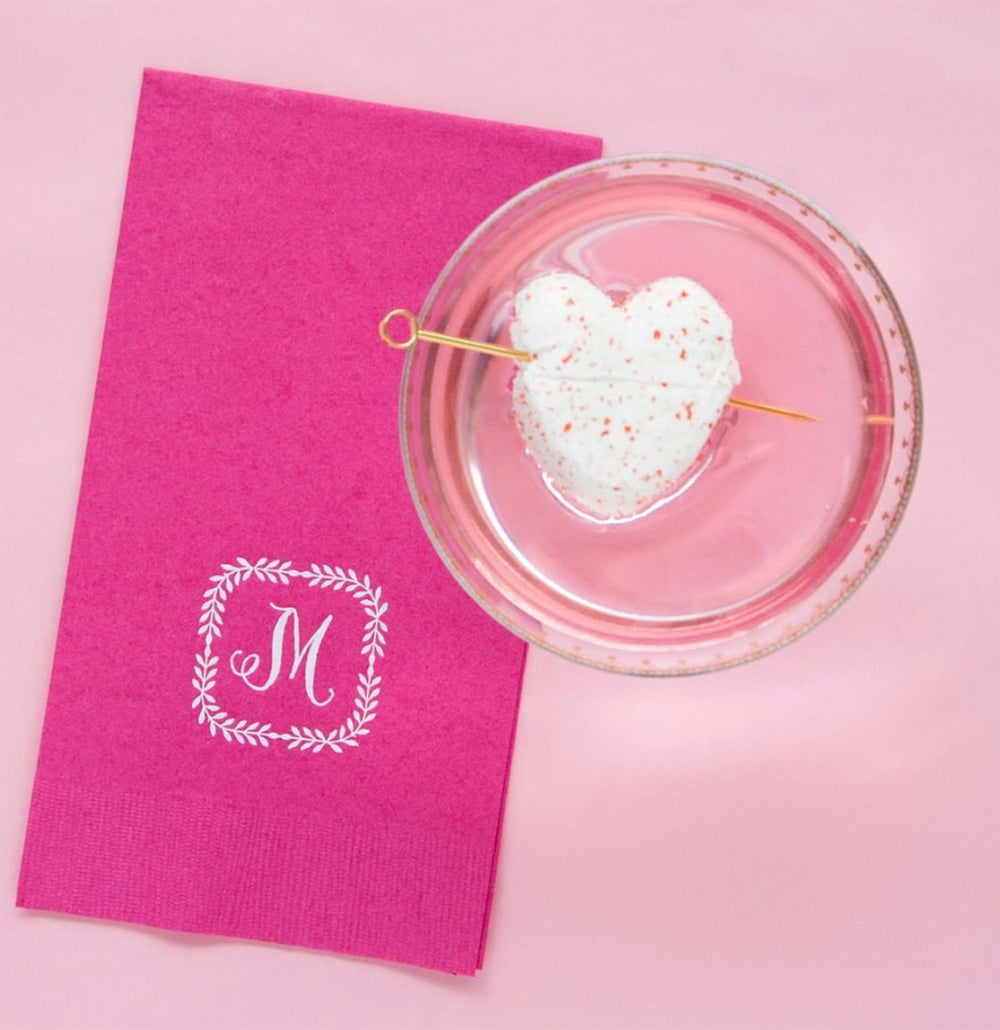Pink Guest Towels with Single Letter Monogram