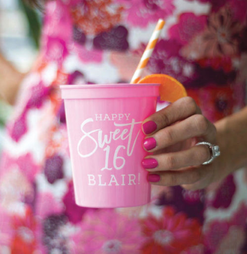 Cute sweet 16 cups shown here with pink type and white ink.