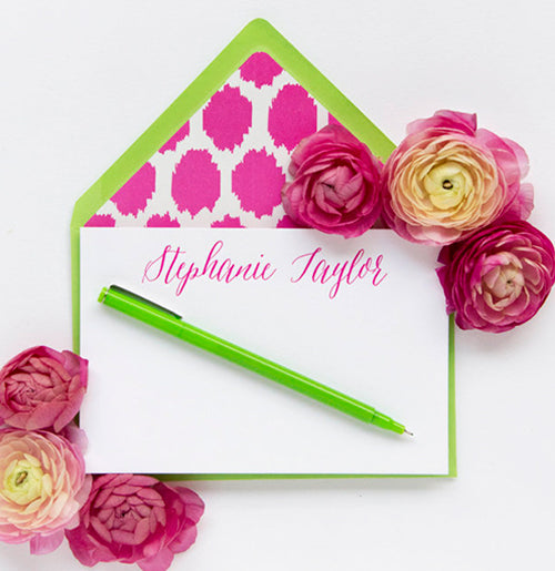50 Pink Letterpress Cards with Lime Green Envelopes