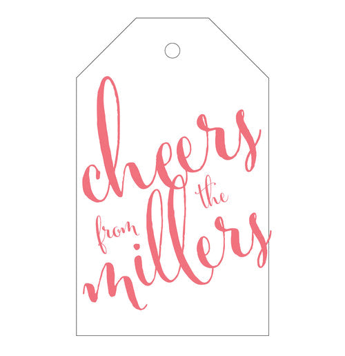 "Letterpress gift tags with ""cheers"" + your family name. Printed by hand in America."