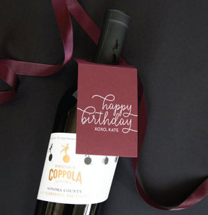 Happy Birthday Wine Tag