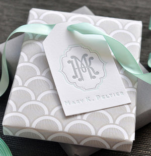 Beautiful letterpress gift tag with two-letter interlock monogram and name. Gorgeous soft colors.