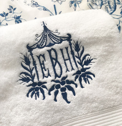 Super Soft Bath Towel with Wheat Pagoda Monogram