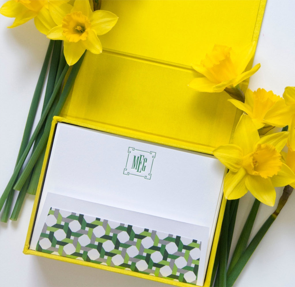 Petit Silk Stationery Box with Lined Envelopes
