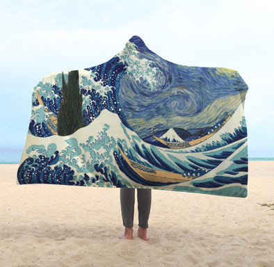 Starry Night Wave Hooded Blanket