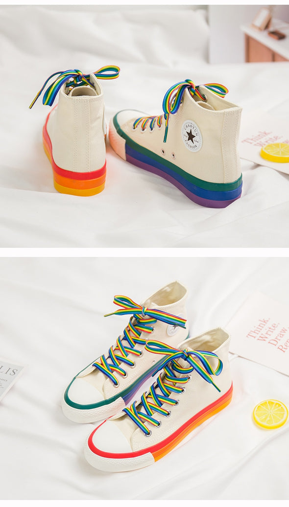 Rainbow Striped Sneakers