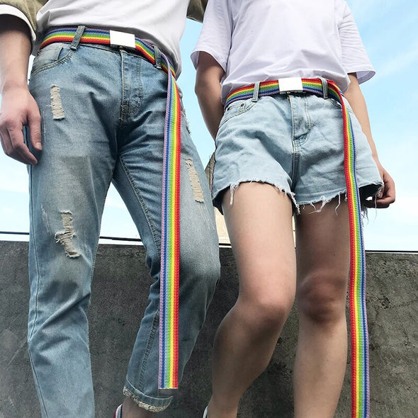 Rainbow Striped Belt