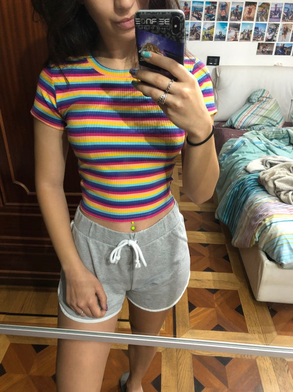 Rainbow Striped Tops