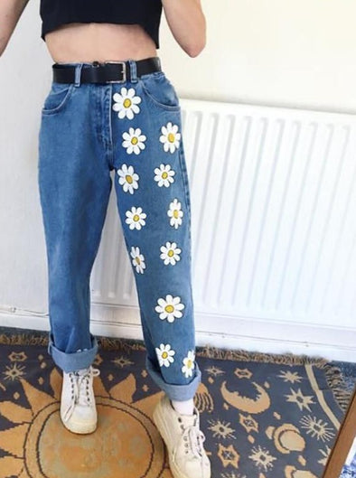 Flowers Denim Jeans