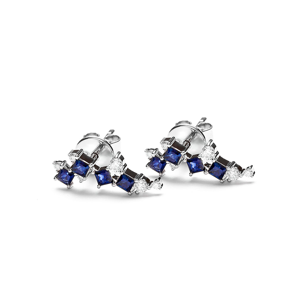 Meredith Diamond Earring With Blue Sapphire (P2005140003)