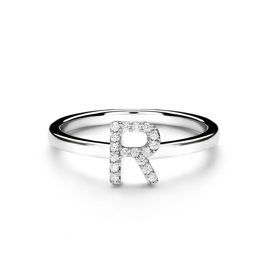 R Alphabet Diamond Ring (P1812100007)