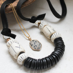 Coconut + Bone Bead Statement Necklace. Fair Trade