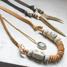 Load image into Gallery viewer, Deer Fork Antler Necklace. Leather + Bone Beads. Neutral