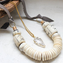Load image into Gallery viewer, Coconut + Bone Bead Statement Necklace. Fair Trade