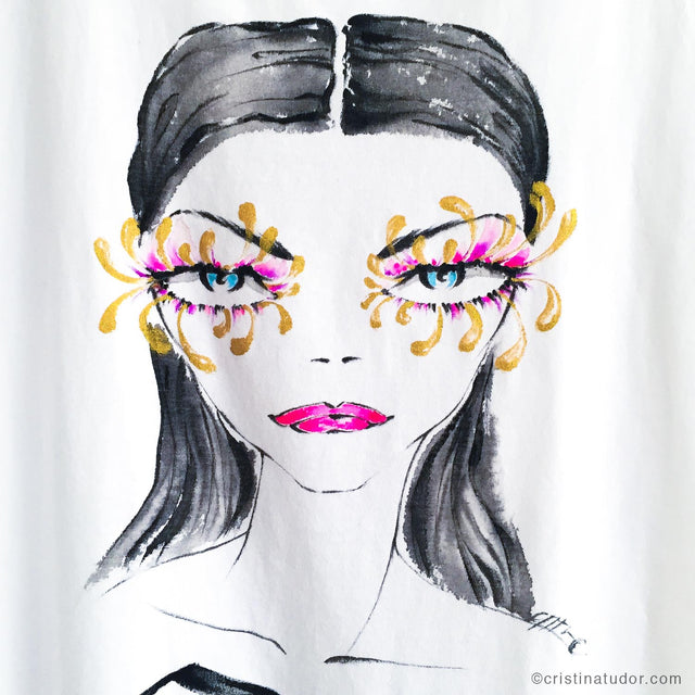 Cristina Tudor Los Angeles Fashion Illustrator Fashion Illustrations Customizations Retail Activations Hand painted, one-of-a-kind, wearable art T-shirts and art prints. FREE SHIPPING