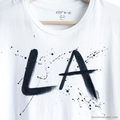 HAND-PAINTED T-shirt: 'LA'