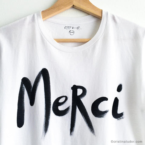 HAND-PAINTED T-shirt: 'Merci'