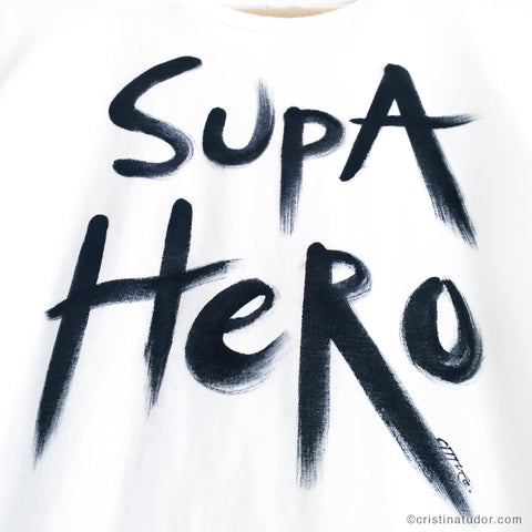 HAND-PAINTED T-shirt: 'Supa Hero'