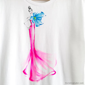 HAND-PAINTED T-shirt: 'Pink Gown'