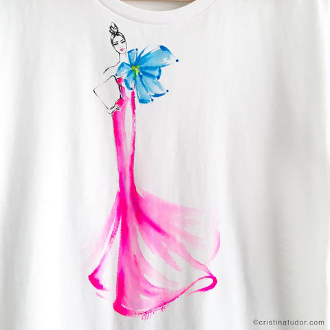 'Pink Gown' Hand Painted T-shirt