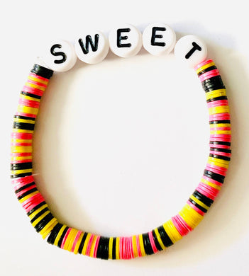 Sweet Beaded Vinyl Rainbow Bracelet