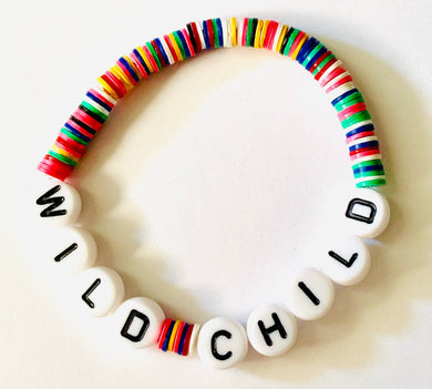 Wild Child Beaded Vinyl Rainbow Bracelet