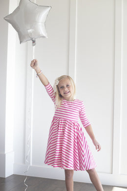 Lara Dress in Bubblegum Stripe - Imperfect Sale