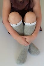Load image into Gallery viewer, Gray & White Lace Top Knee Highs
