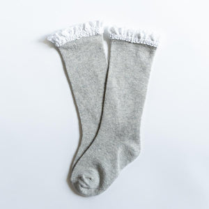 Gray & White Lace Top Knee Highs