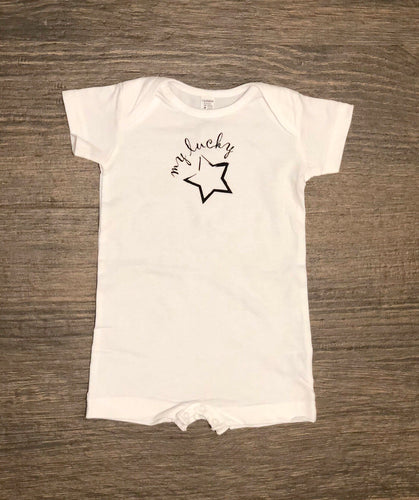 my lucky star basic romper white
