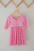 Load image into Gallery viewer, Lara Dress in Bubblegum Stripe - Imperfect Sale
