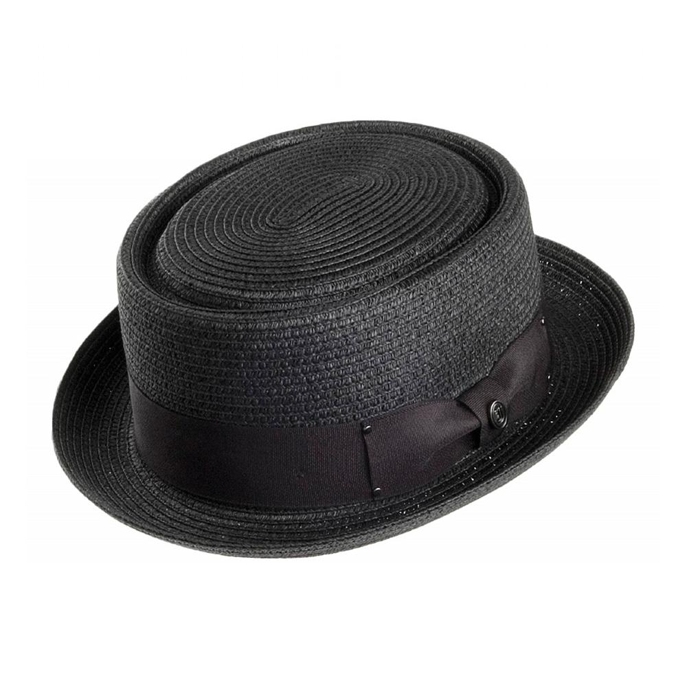 Jaxon & James - Toyo Braided Pork Pie Hat - Straw Hat - Black