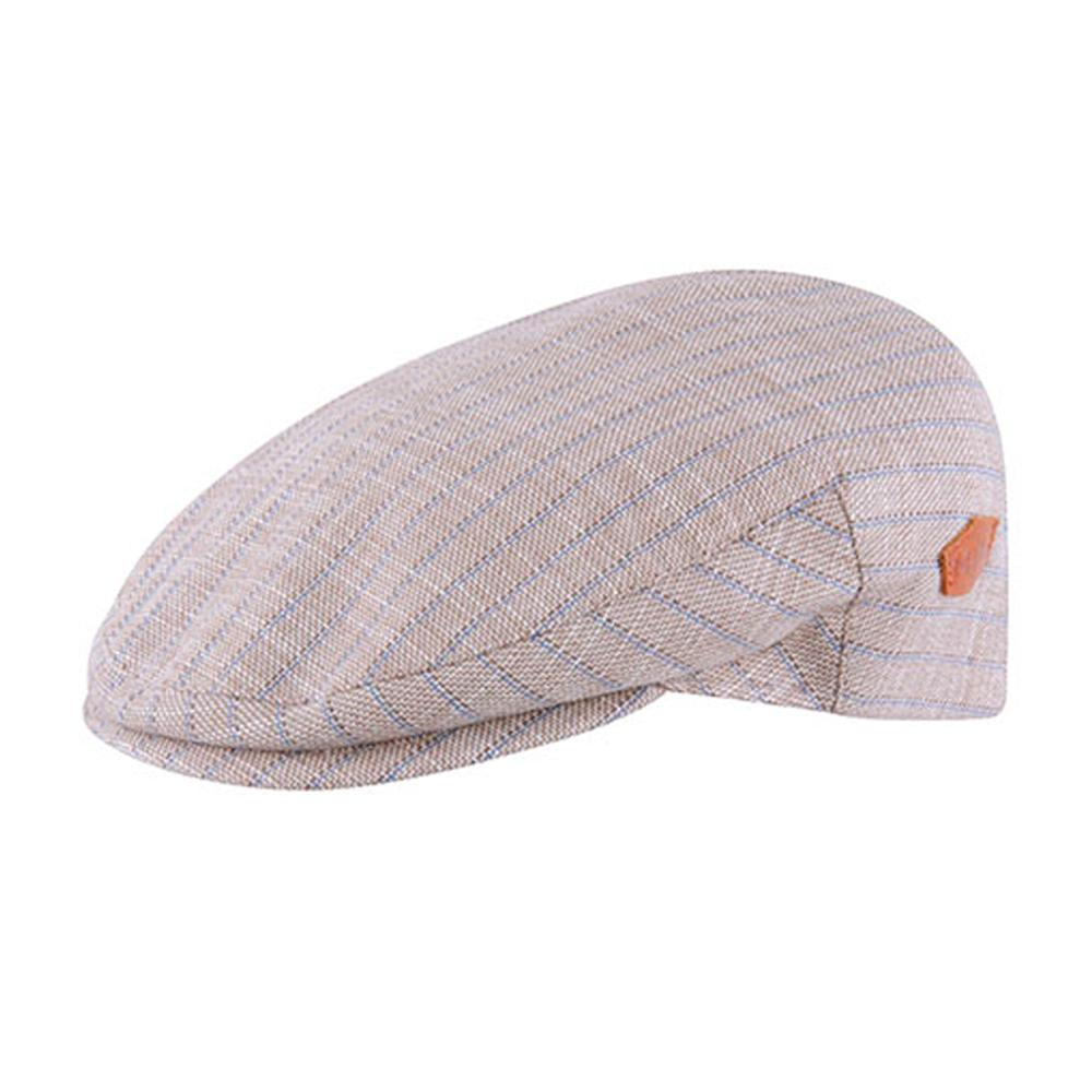 MJM Hats - Oliver - Sixpence/Flat Cap - Brown/Blue Stripe