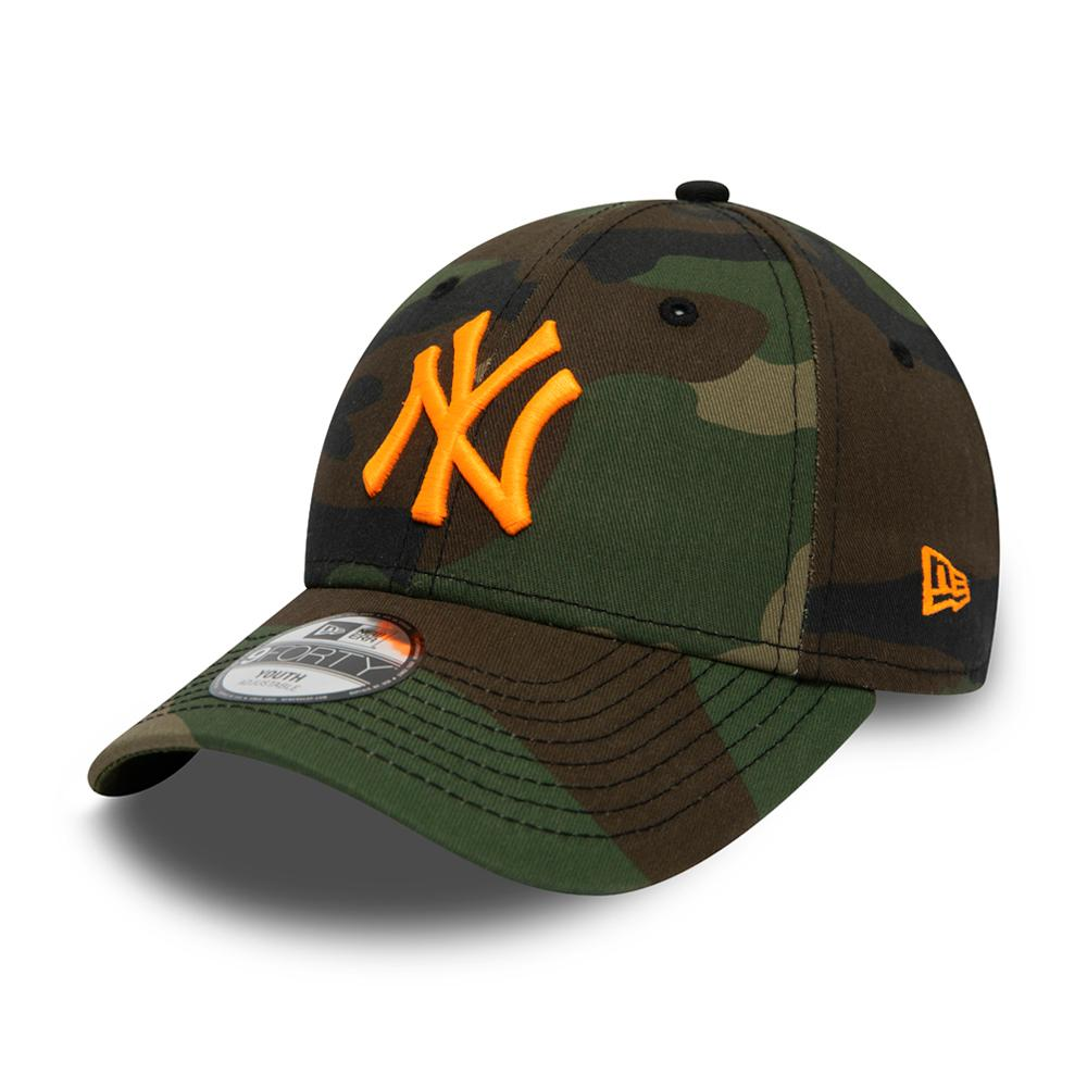 New Era - NY Yankees 9Forty Kids - Adjustable - Woodland Camo/Neon Orange
