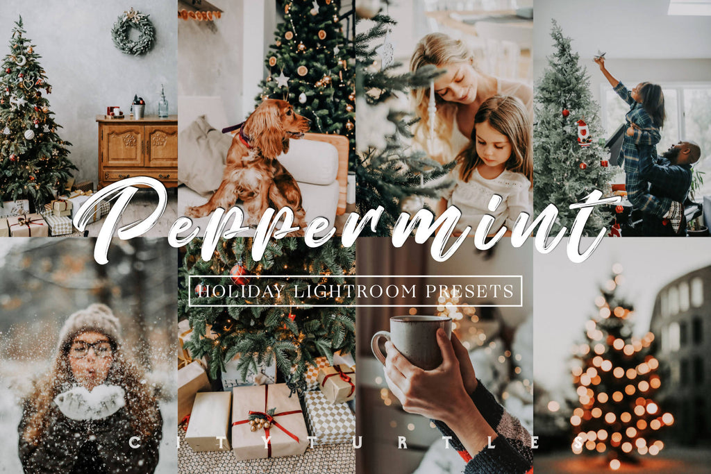 Moody Holiday PEPPERMINT Winter Lightroom Desktop & Mobile Presets for Photographers