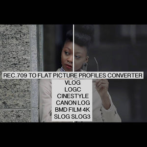 REC.709 to FLAT Picture Profiles Vlog, Logc, Cinestyle, Canon Log, Bmd Film 4k, Slog, Slog3 Converter LUTS Thiago Vibesp