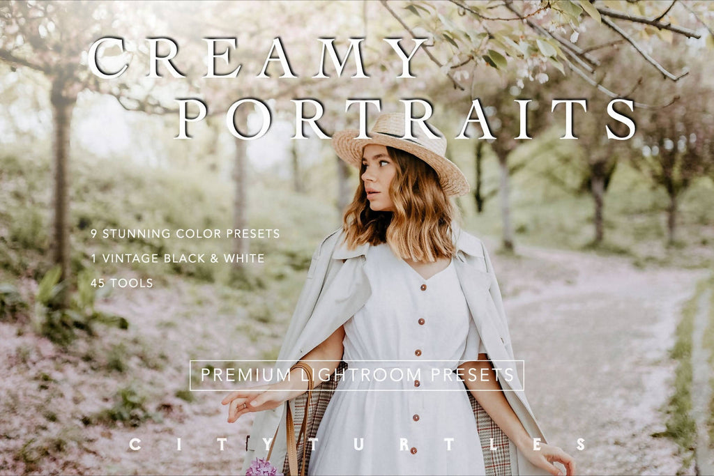 Soft Airy CREAMY PORTRAITS Lightroom Presets Pack for Desktop & Mobile - One Click Photographer Editing Tools