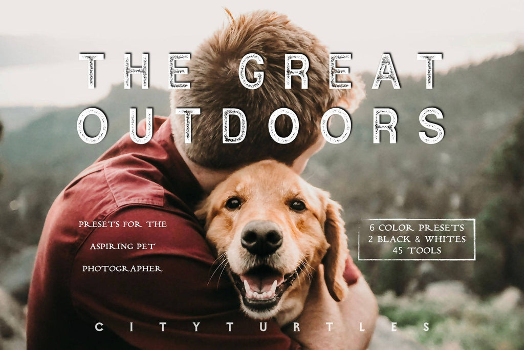 Moody Pet Photography Kit THE GREAT OUTDOORS Lightroom Presets Pack for Desktop and Mobile - One Click Editing Tools