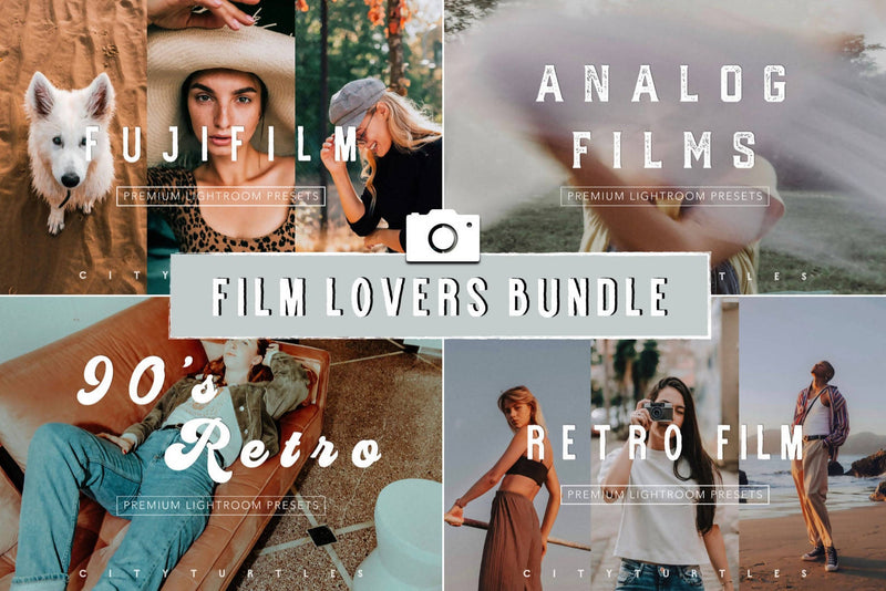 FILM LOVERS BUNDLE - Premium Lightroom Presets for Desktop & Mobile - One Click Photo Editing Tools for Photographers