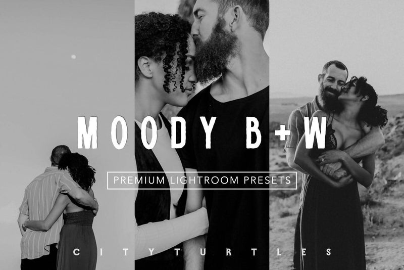 Moody BW Film Lightroom Presets Pack for Desktop & Mobile - One Click Photographer Editing Tools