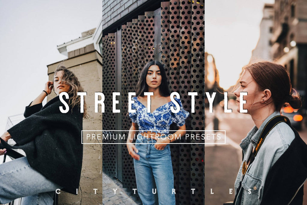 Clean Modern STREET STYLE Editorial Lightroom Presets Pack for Desktop and Mobile - One Click Photography Editing Tools