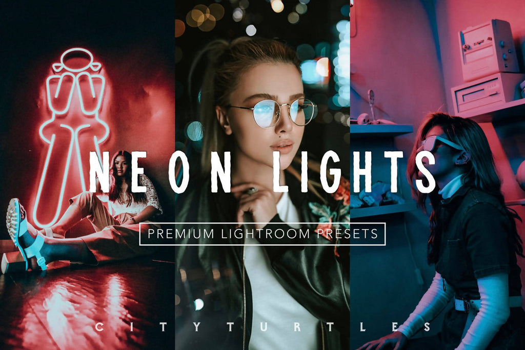 Moody Vibrant NEON LIGHTS Editorial Lightroom Presets Pack for Desktop & Mobile