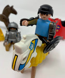 Vintage PlayMobil 1974 Geobra Knights on Horses with Gear
