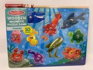 Melissa & Doug Wooden Magnetic Fishing Game Puzzle