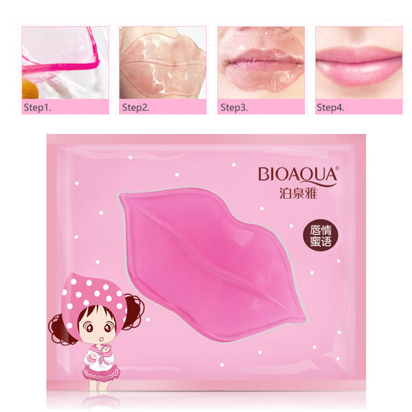 BIOAQUA Skin Care Crystal Collagen Facial Mask Lip Mask Moisture Essence Lip Care Pads Anti Ageing Wrinkle Patch Pad Gel
