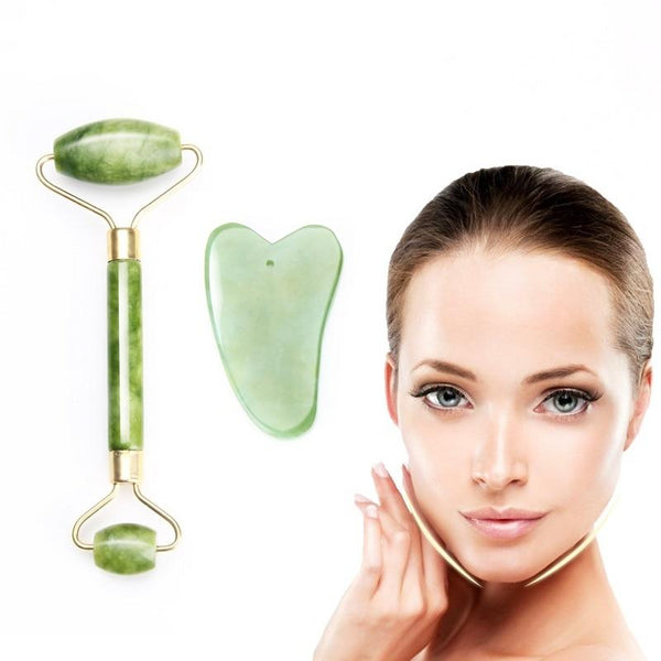 Natural Green Jade Facial Beauty Massage Roller Kit